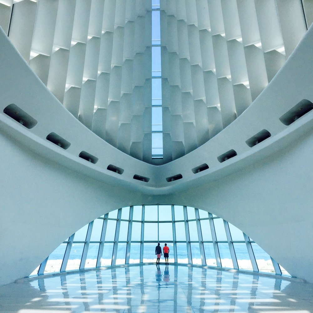 The Milwaukee art museum designed by rockstar architect Santiago Calatrava.