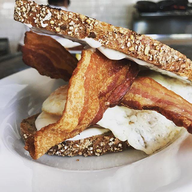 Fried egg sandwich looking like 🤘🏻🍳🥓 #breakfast #littleitalysandiego #littleitalysd #brunch #lunch #sandiegoeats #bestofsandiego