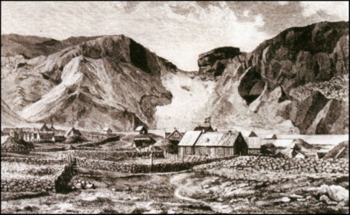The Harbor on Heimaey, in the Westman Islands. (Illustration by Carl Emil Baagøe, originally published in the Danish illustrated newspaper Illustreret Tidende [Illustrated News], March 16, 1879.)