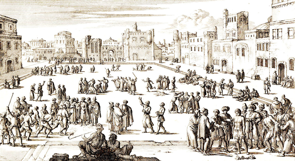 Captives being sold in the slave market—the Batistan—in Algiers. (Engraving by Jan en Casper Luyken, 1684. Amsterdam Historic Museum.)
