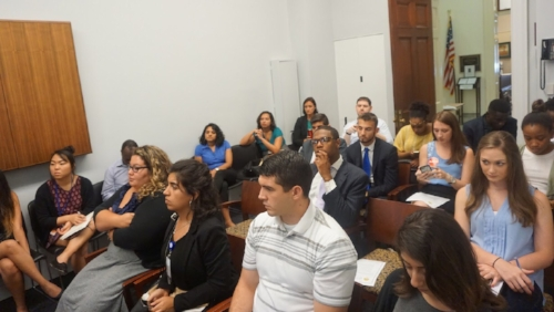 A packed room of congressional staffers listened as our presenters covered anti-blackness in legislation and other issues on the Hill.