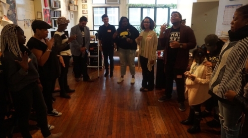 UndocuBlack Network member Ronnie James leads the mental wellness workshop at the New York convening.