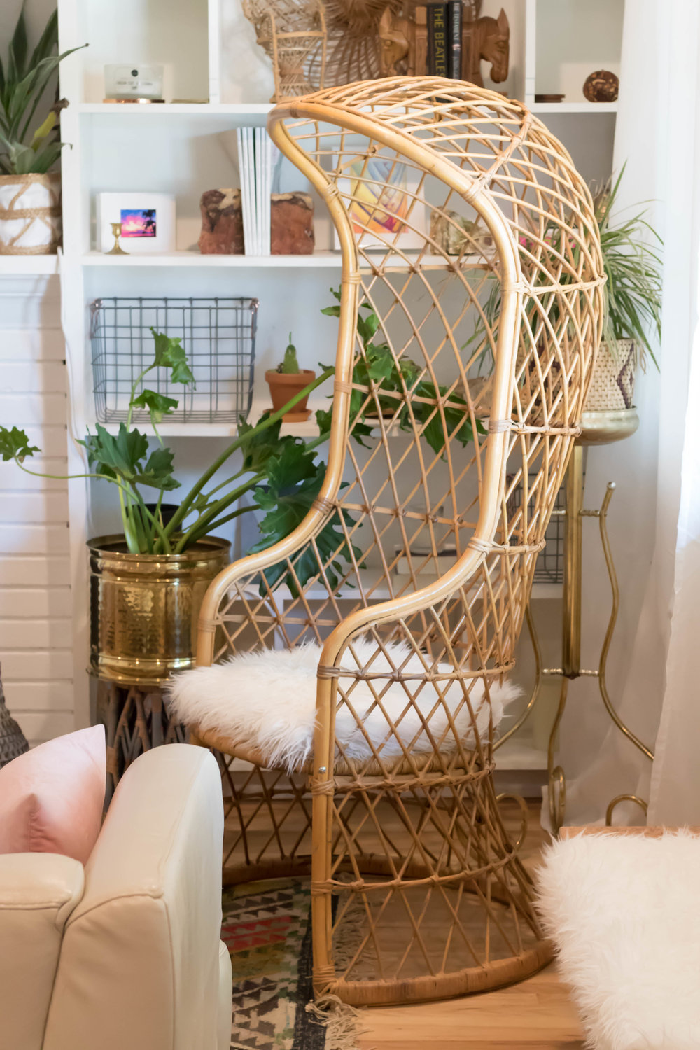 Crosby, Stills, Nash & Young - (4) Hooded rattan chairs