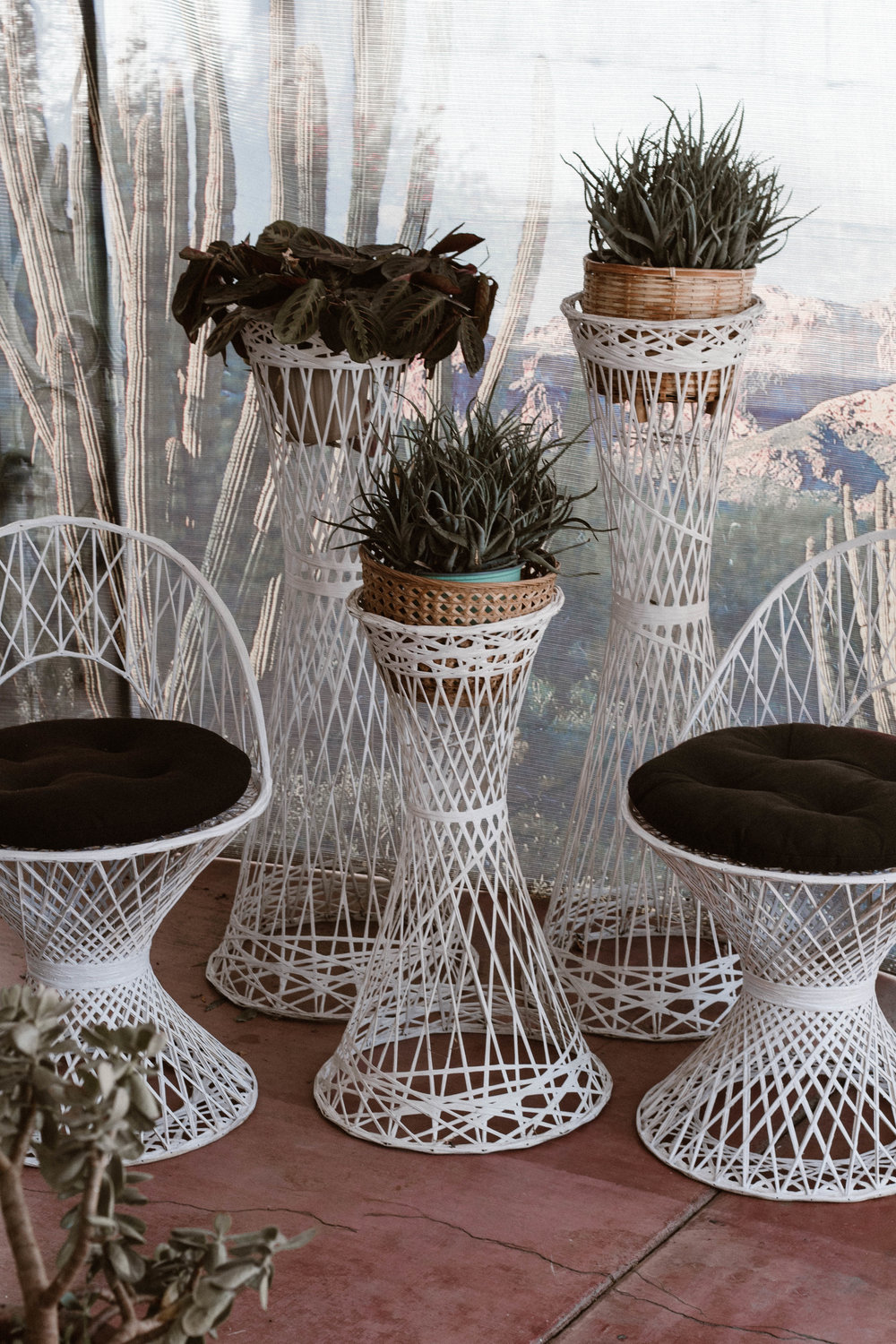 The Osmonds - (2) Spun fiberglass chairs and 3 matching plant stands. Chairs and plant stands may be rented seperately.