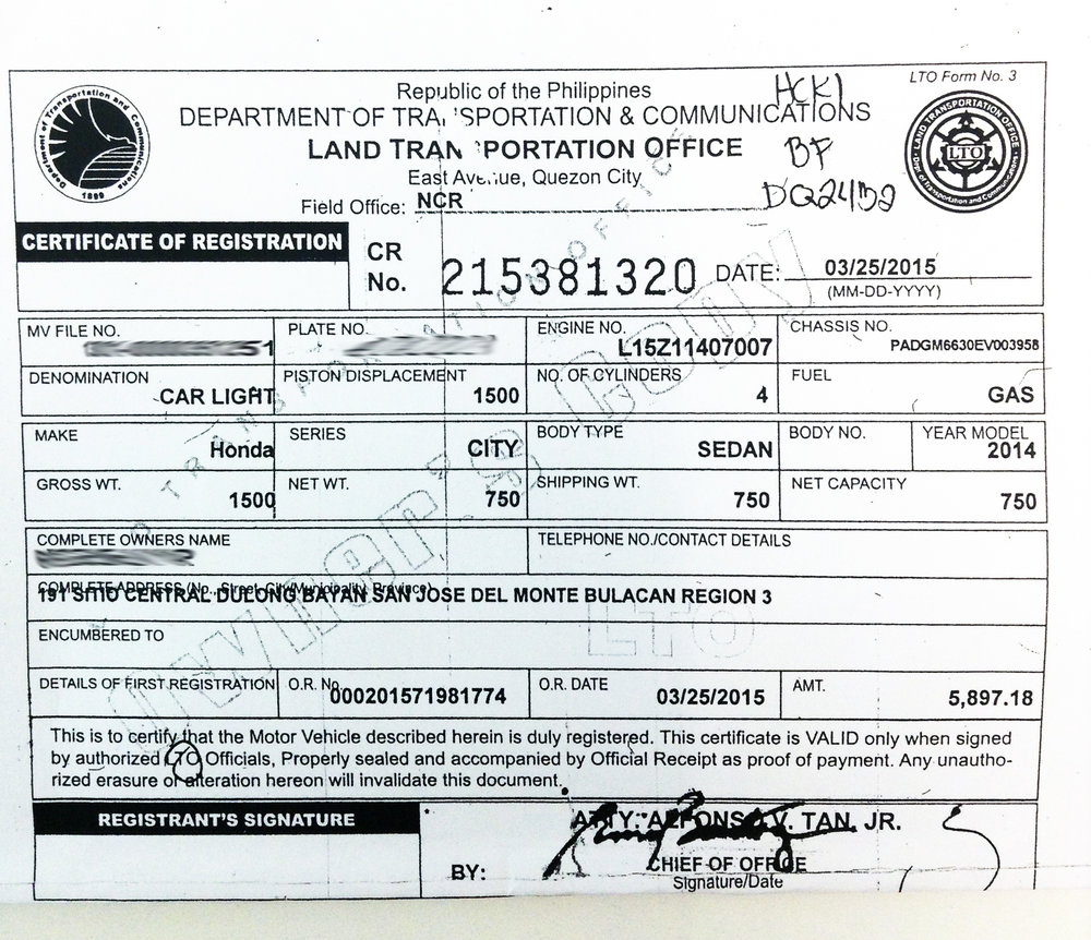Vehicle Certificate of Registration