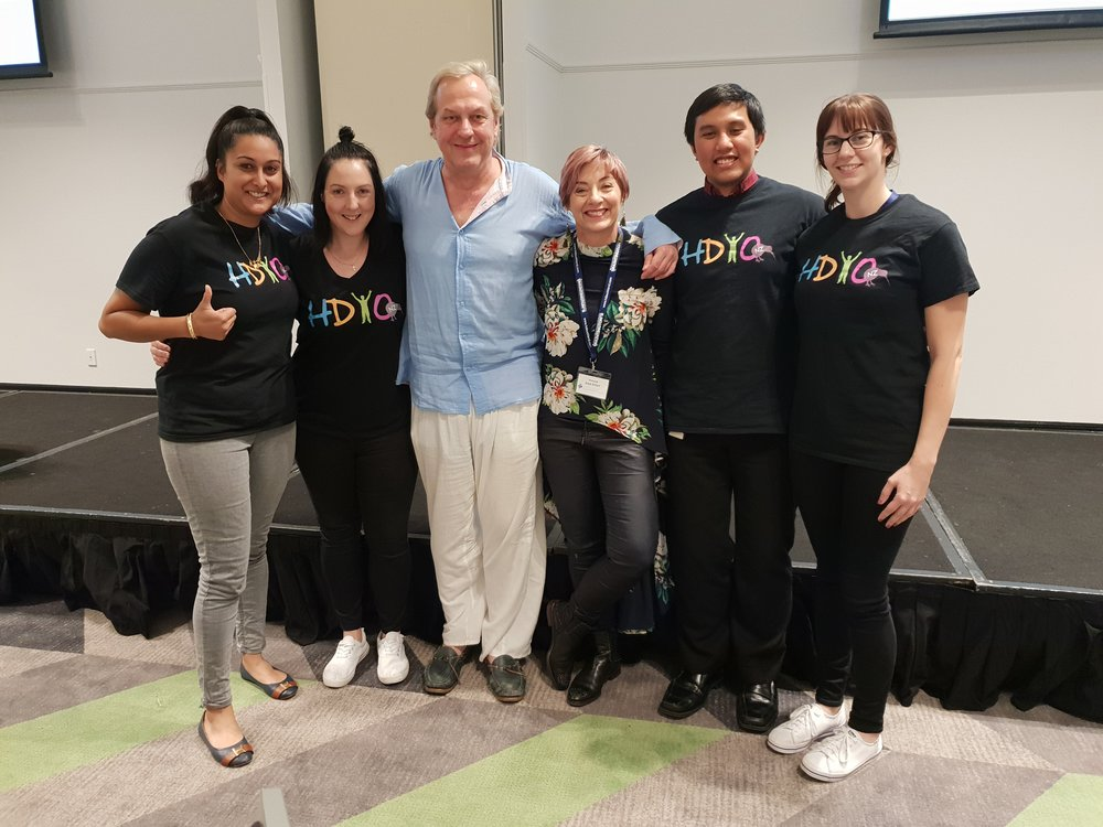 Members of the HDYO NZ team with guest speakers.  From Left to Right: Malvindar, Leanne, Charles Sabine, Professor Julie Stout, Daniel, Sam