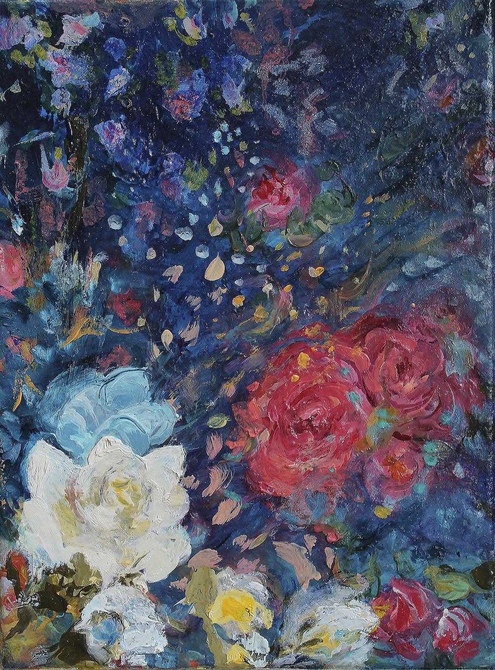 RGB jpeg Nanna Jalkanen Kukkia, Meri (Nocturne) , Flowers, Sea (Nocturne)2015.jpg