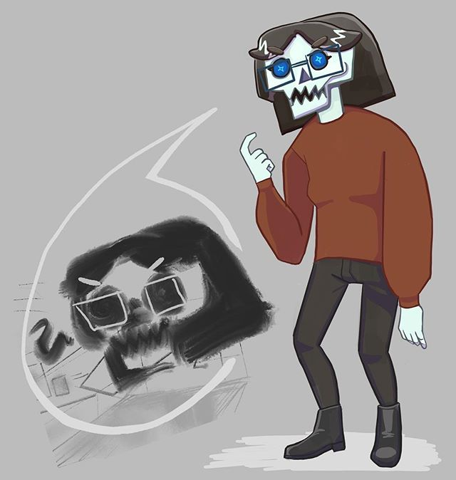 @kaamanti left me a drawing (on left) and I messed with it. . . . . . #art #artist #digital #digitalart #sketch #procreate #instaart #instaartist #artistsoninstagram #artoninstagram #art_spotlight #arte #character #skeleton