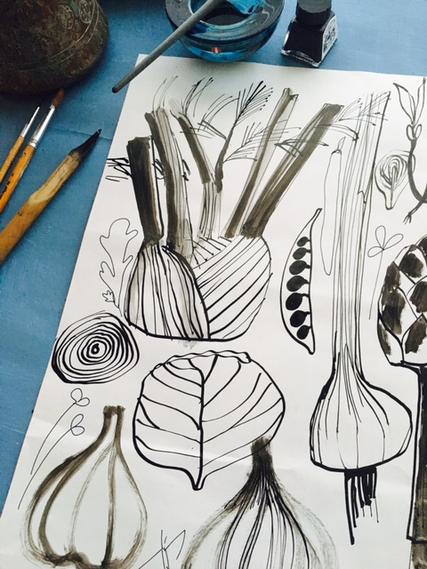 Sarah Allen Ink Drawing Vegetables.jpg