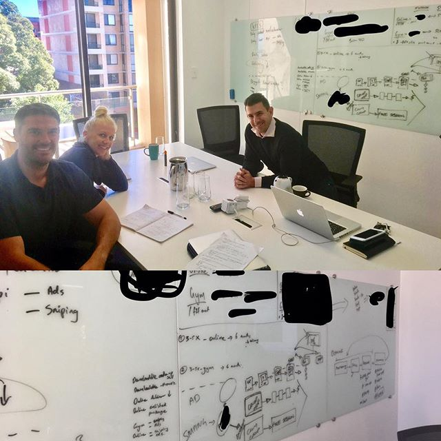 Awesome session with Michael Cross and Carly Box today 🔥🔥🔥🔥 Whiteboards got a workout! 😉 (certain things blotted out for obvious reasons!) REAL BIG things to come from these guys & the team at barracks gym over coming 6-12+ months. Impacting & helping hundreds of thousands of lives 👍🏻 in both online & face to face space!  Watch this space 🚀  Enjoy ur flight home guys!  Www.tribefit.co