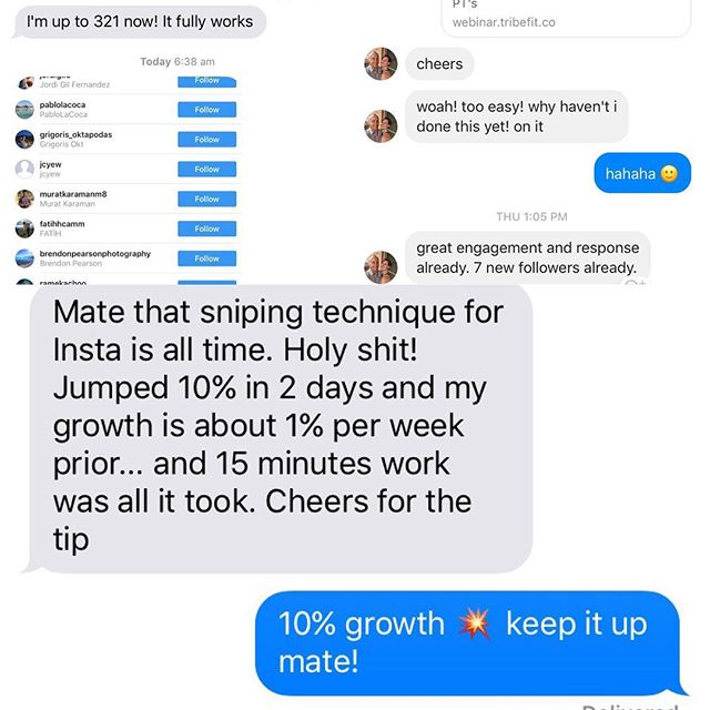 Instagram 'bots' suck (coz u only get back likes &u follows from non targeted people) - everyone hates them @ IG is slowly killing them off 😵 -  to build ur biz u only want to build ur audience with people who are ur ideal next clients. Gave my new IG 'sniping' trick out to few ppl this wk & got the below txt back 🔥🔥🔥🔥 . Comment 'yes' if ud like me to send u the free 'how to vid' ..