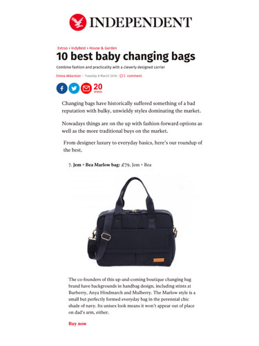 Independent.co.uk - 9th March 2016 - 10 Best Changing Bags includes the Marlow bag from Jem + Bea.jpg