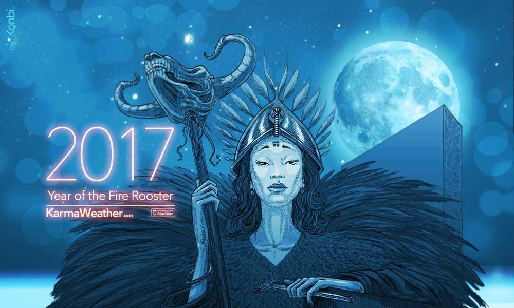 KarmaWeather by Konbi   has become in less than 2 years one of the world leaders in Chinese astrology and love compatibility calculation, on the web and on the iPhone.  Illustration CAL © KarmaWeather by Konbi