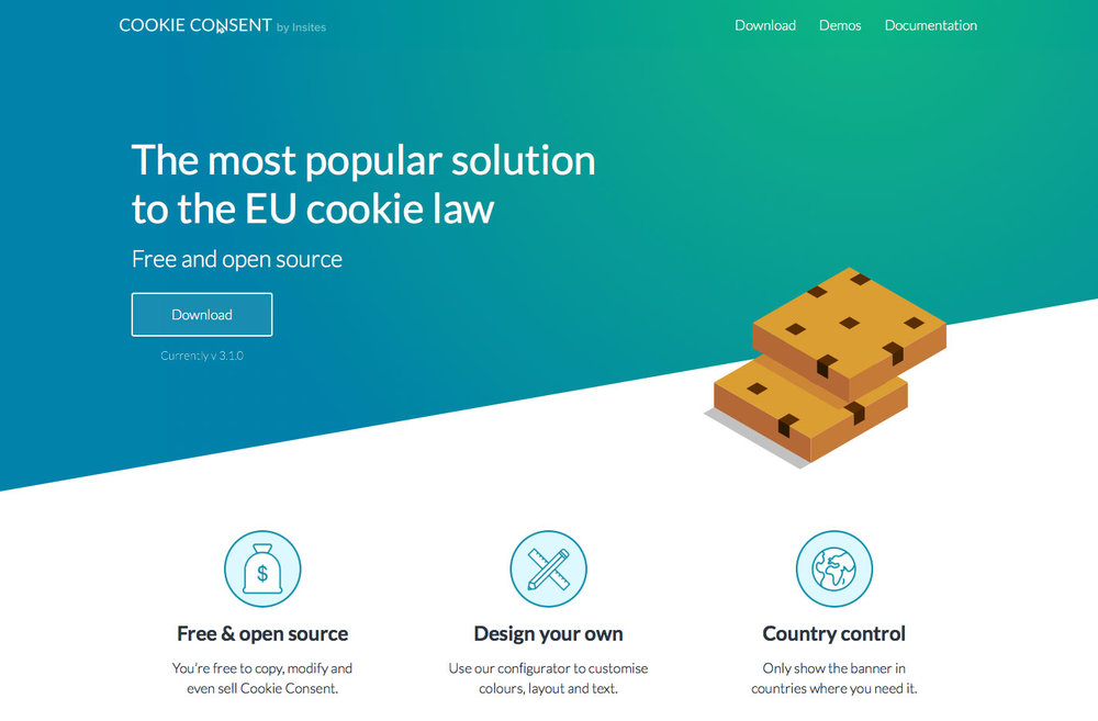 Home page of Cookie Consent by Insites
