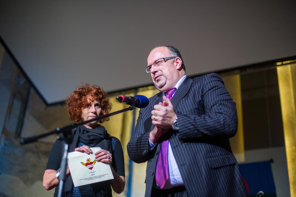 Zdeňka Almerová, předsedkyně správní rady Otevřené společnosti, a Ondřej Šuch, zástupce Nadace ČEZ, předali cenu v kategorii Média.