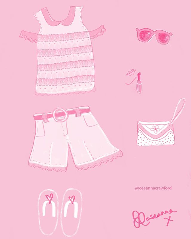 On Wednesday's we wear pink 🦋 A little sketch recently, just dreaming of summer attire and BBQ season 💛