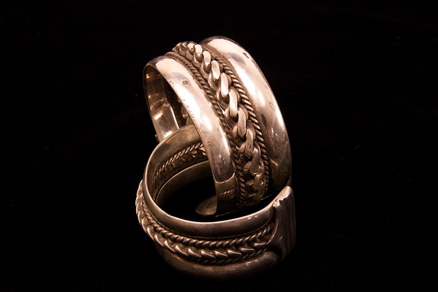 Bedouin antique betrothal bracelet circa 1915. Silver.  Size and width and weight vary.