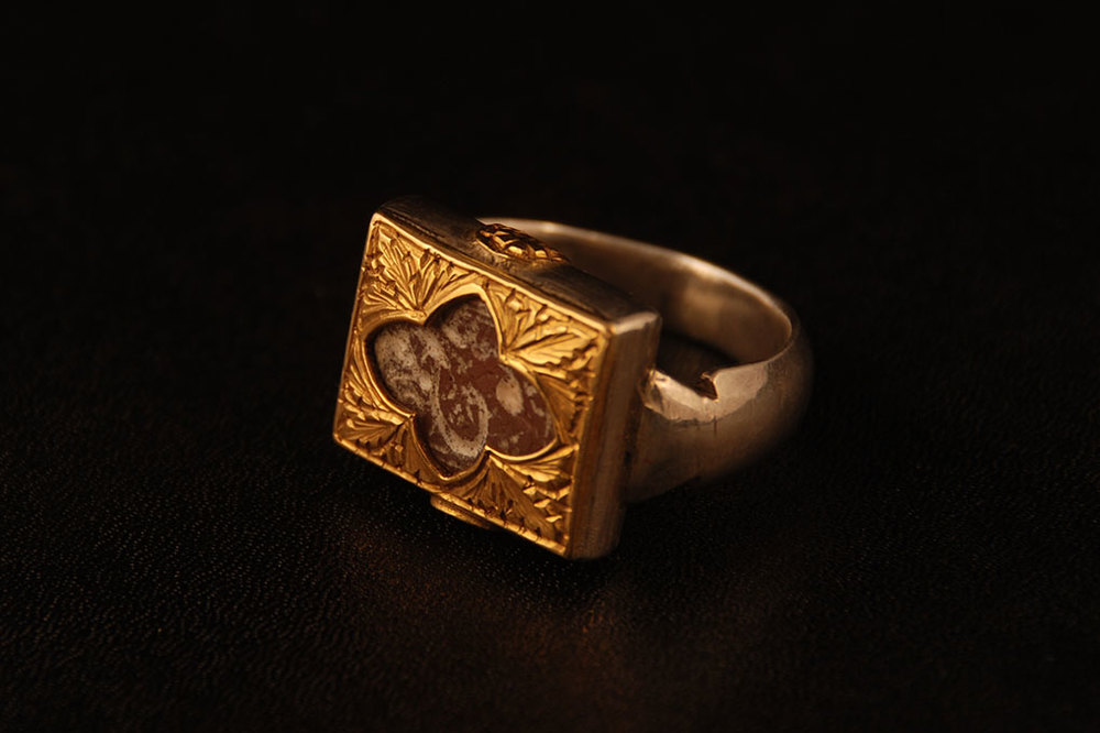 Antique Iranian seal ring inspired by ancient Moghal design.  Gold and silver.