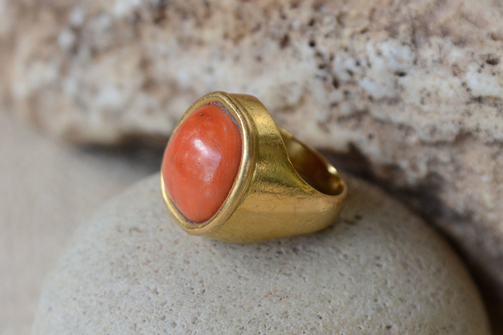 Coral and 22ct gold ring.  Variable sizes.