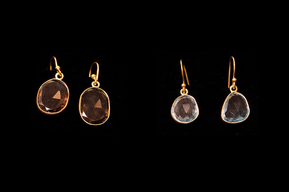 Gold plated silver faceted smoky quartz and blue topaz drops.  Also available in amethyst and moonstone. Earring length from top of hook 3cm Stone height 1.5cm width 1cm.