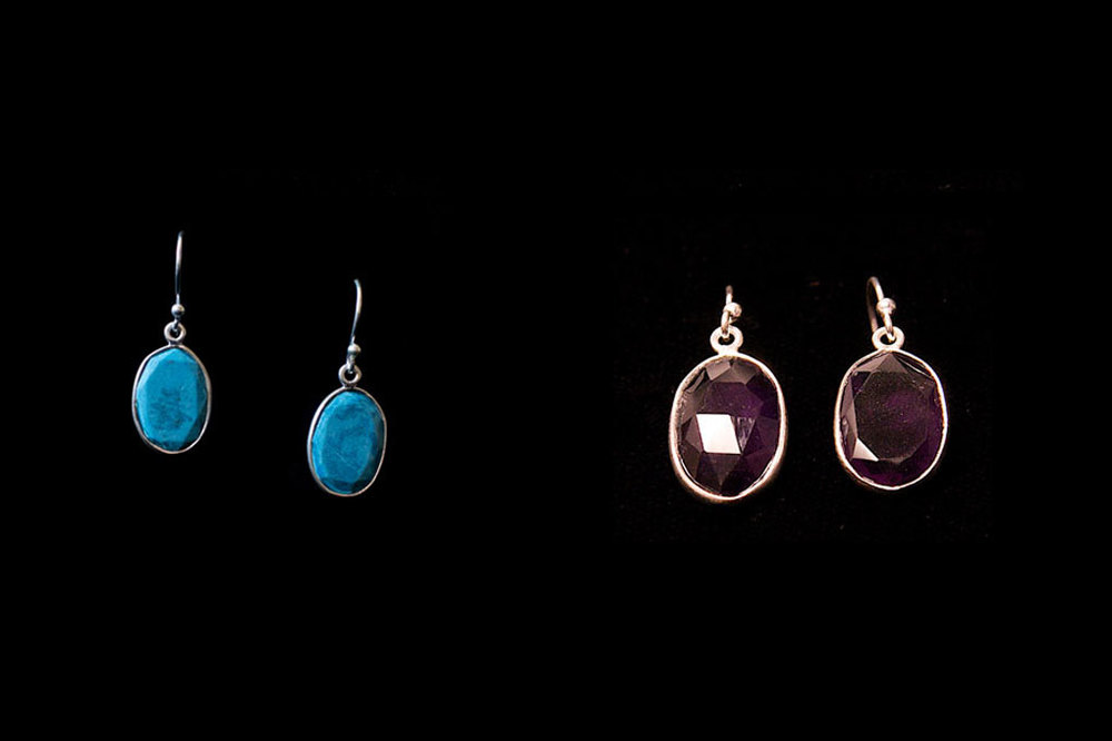 Silver faceted turquoise and smoky quartz drops. Also available in blue topaz. Earring length- 3cm. Stone height-1.5cm width-1cm.