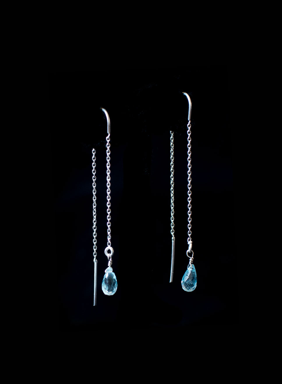 Silver needle chain with aqua marine drop gems Also available in peridot and  amethyst. Earring length-6cm.