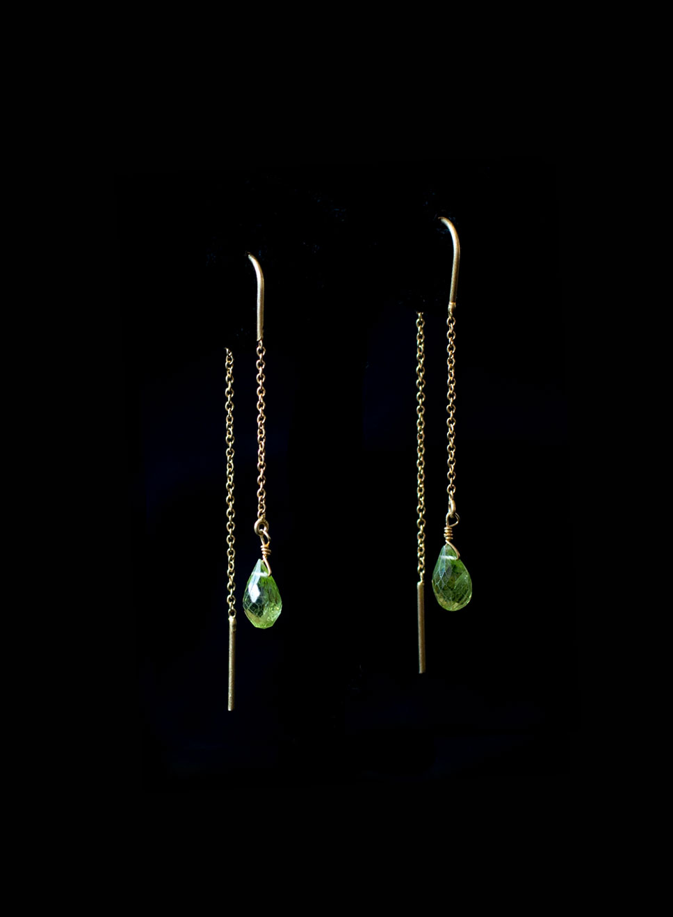 Gold plated silver needle chain with peridot drop gems Also available smoky quartz, amethyst and aqua marine. Earring length-6cm.
