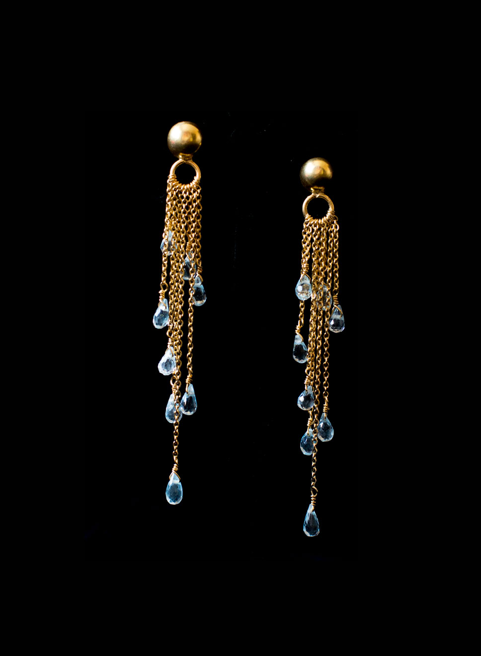 Gold plated silver multi chain with blue topaz drops. Available in amethyst, smoky quartz, peridot.  Earring length 7.5 cm.