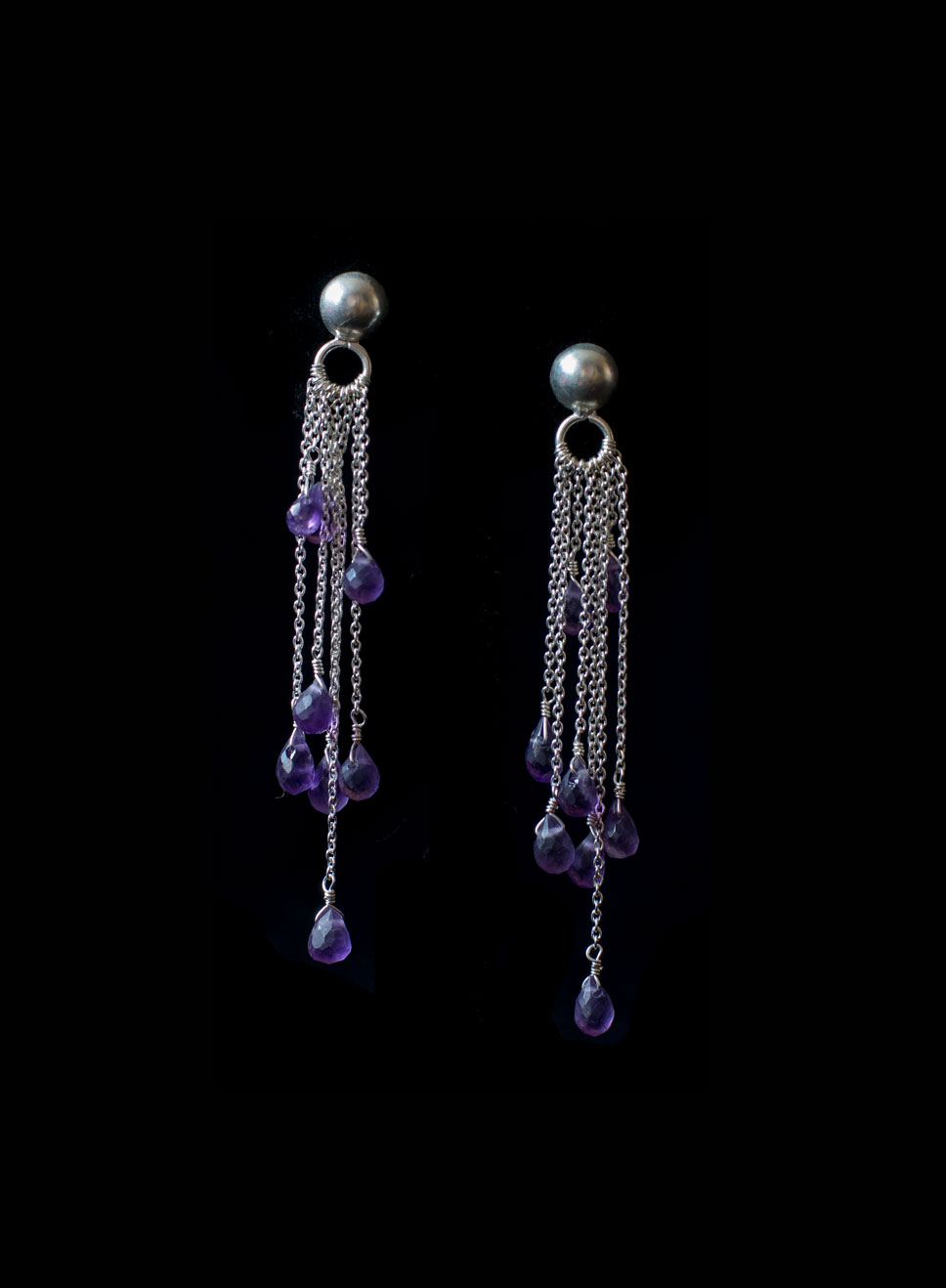 Multi-chain with stud & amethyst drops. Silver & silver gold plate. Stones aqua marine, smoky quartz or tourmaline.  Earring length-7.5cm.