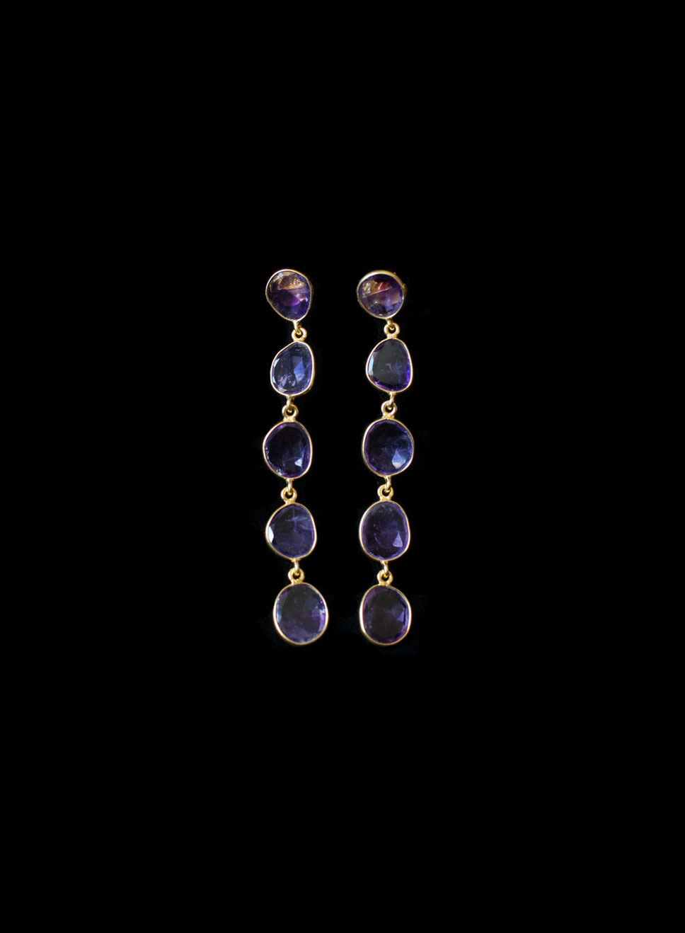Gold plated silver 5 descending amethyst drops with bezel. Available in citrine , blue topaz, hessonite garnet.  Earring length-6.5cm.