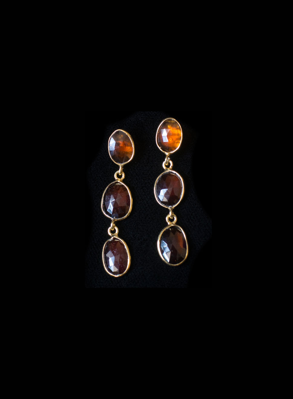 Gold plate silver 3 descending hessonite garnet  drops with bezel. Available in, peridot, blue topaz, tourmaline.  Earring length-4.5cm.