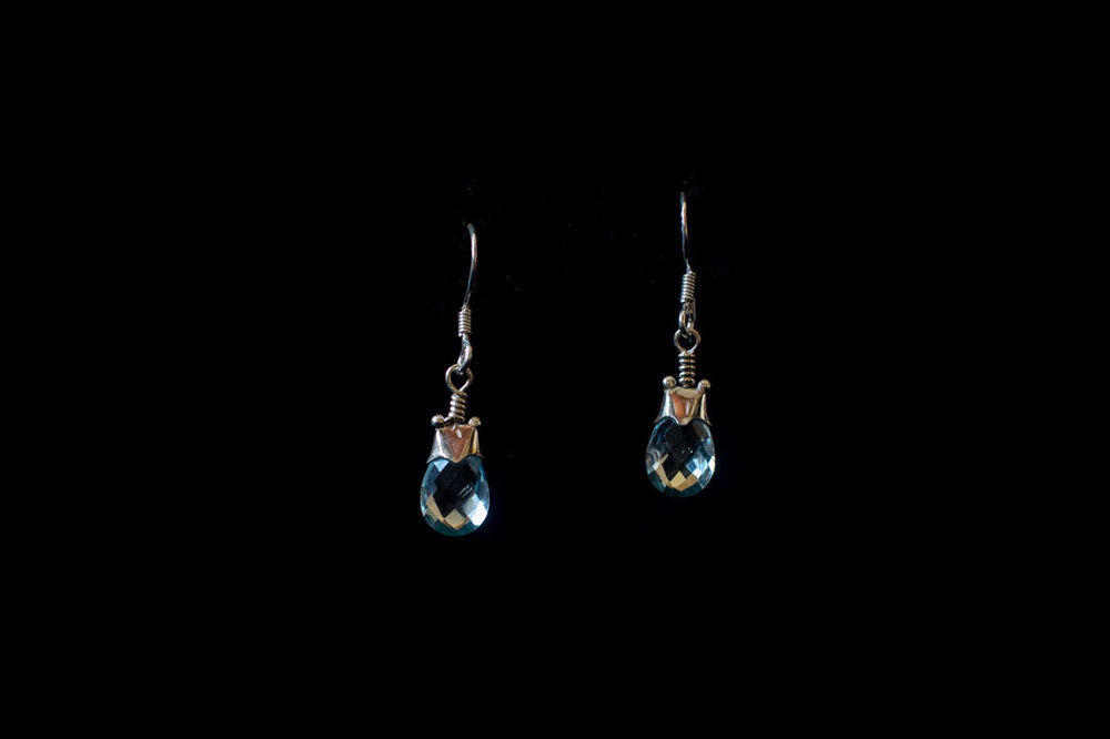 Gold plated silver blue topaz drops. Available in  silver and stones in amethyst, moonstone & turquoise.  Earring length-4cm.