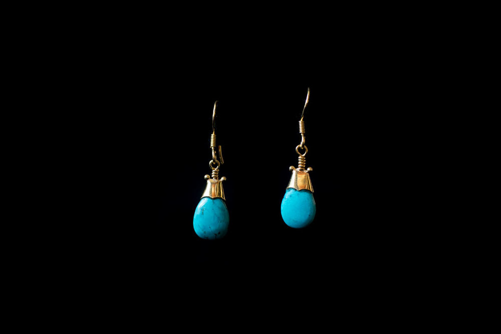 Gold plated silver turquoise drops. Available in amethyst, moonstone & blue topaz.  Earring length including hook 3.5 cm.