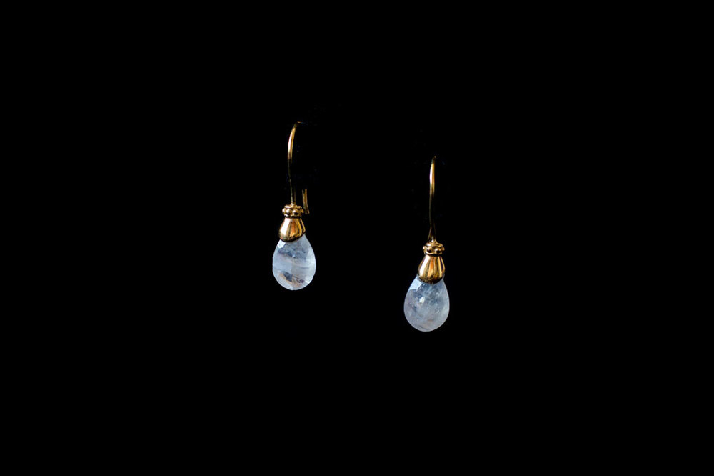 Gold plated silver Roman style moonstone  drops. Available in aqua marine & amethyst.  Earring length including hook 3cm.