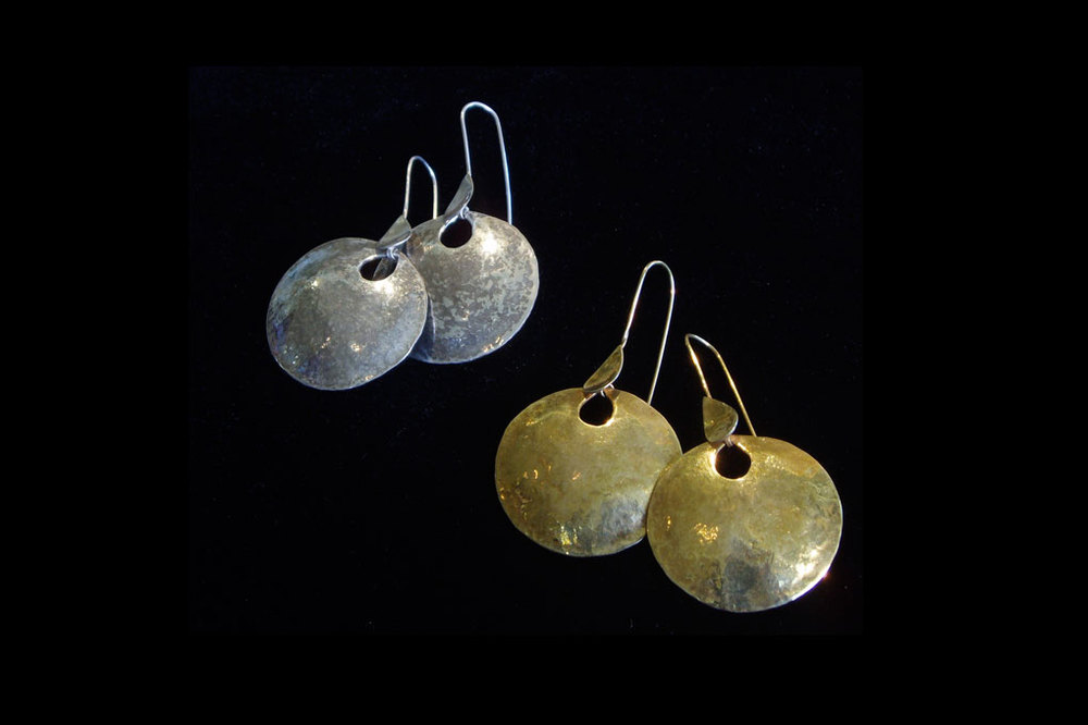 Hammered  dishes. Silver & silver gold plate. Earring length including hook-5cm width-3 cm.