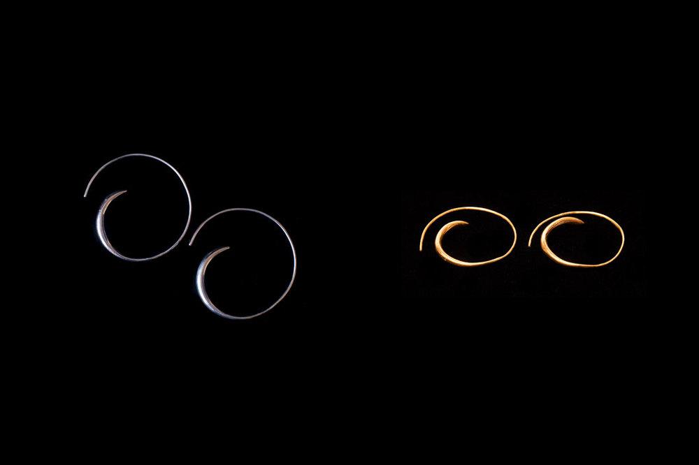 Open hoops. Silver & silver gold plate.  Earring width-3.5cm width-3.5cm.
