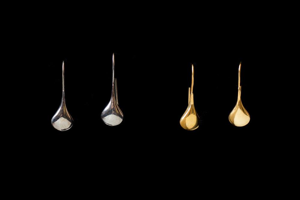 Pods. Silver & silver gold plate.  Earring length-3cm. Earring width-1cm.