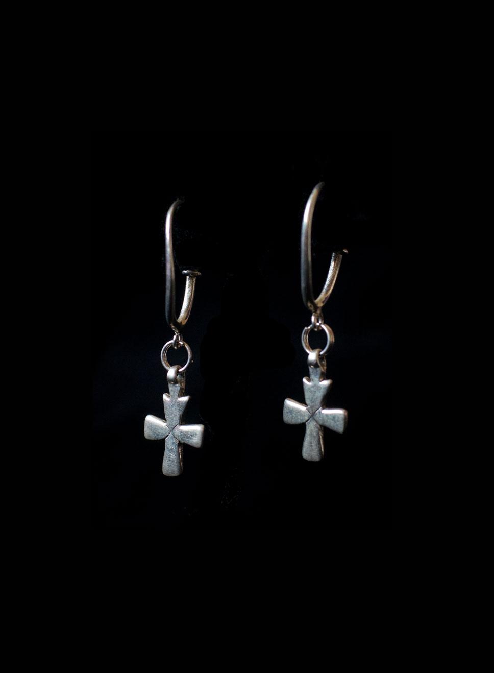Ethiopian cross. Silver . Earring length-5cm. Cross height-2cm width-1.5cm.