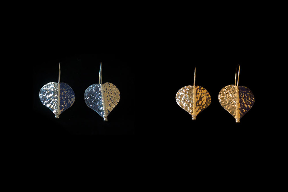 Heart shaped leaf with hook. Silver & silver gold plate. Earring length-4cm width-2.5cm.