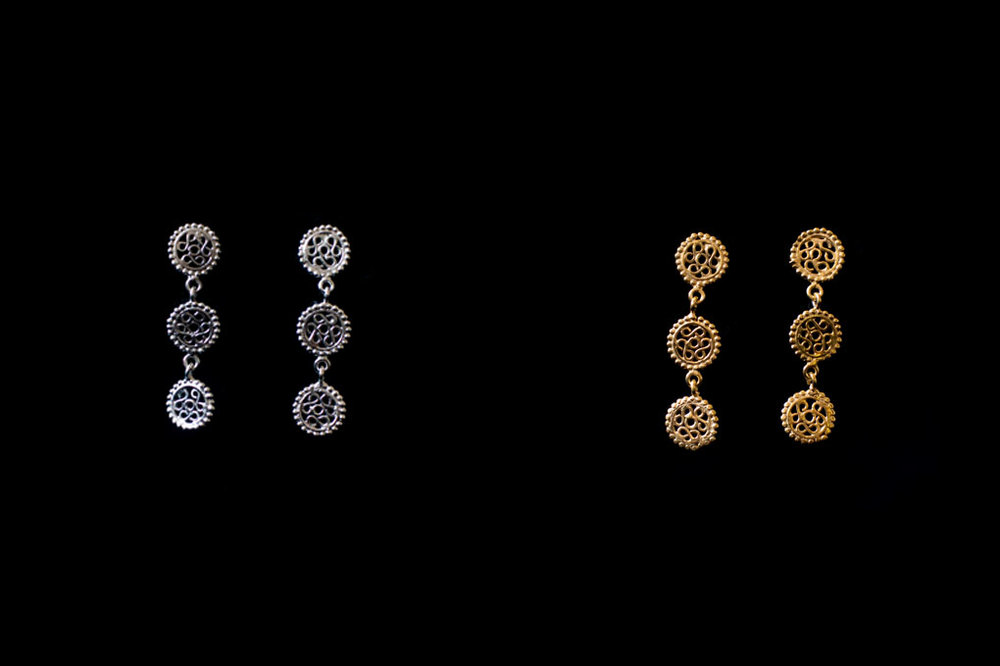 3 descending filigree fertility wheels. Silver & silver gold plate or 18ct gold. Earring length-3cm long.