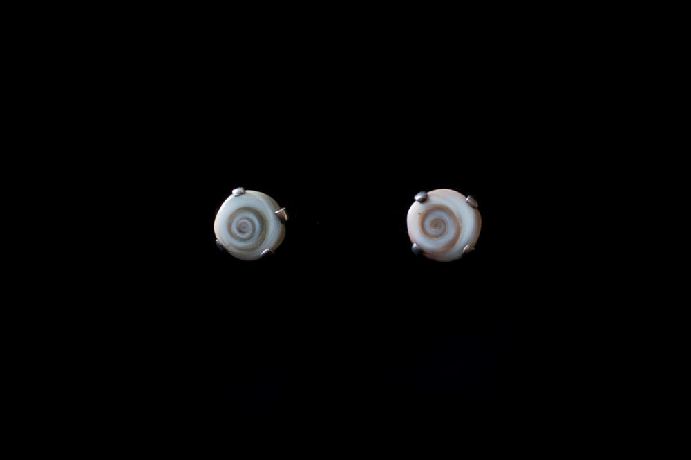 Operculum stud earring from Lamu. Silver. Earring size- 1.2cm by 1.2cm.