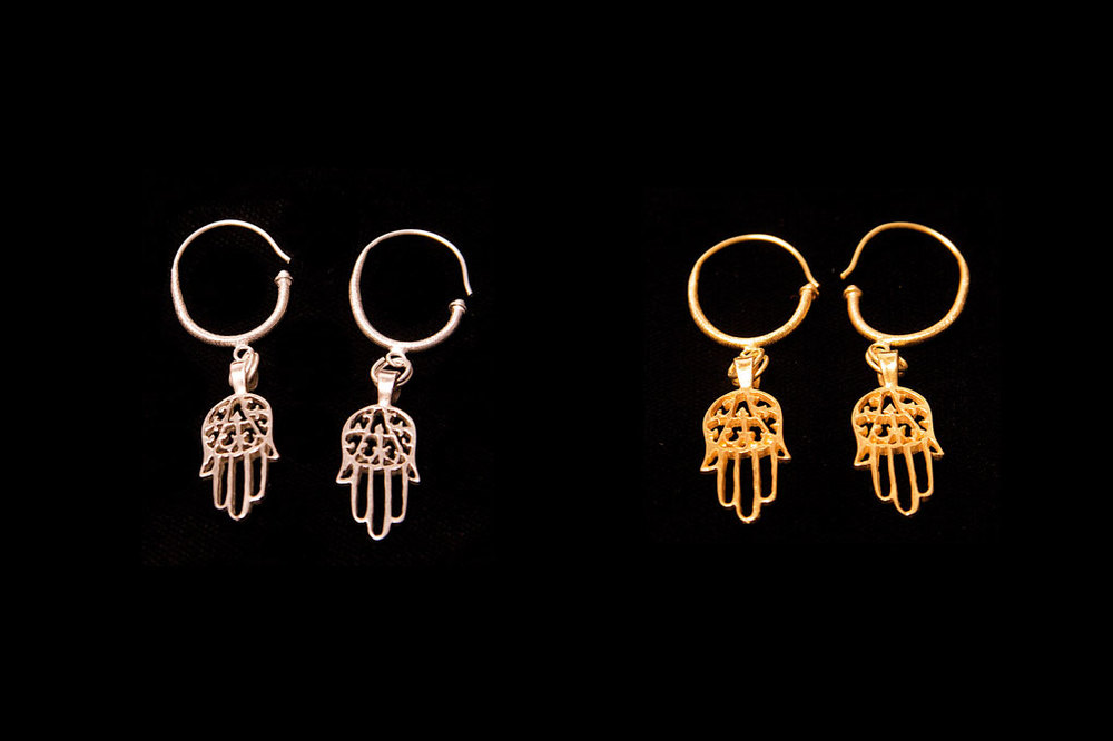Protective hand of Fatima with hook. Silver & silver gold plate.  Earring length-5cm. Hand height-2.5cm width-1.2cm.