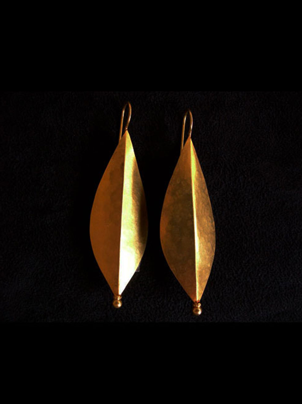 Leaf shape with hook. Silver & silver gold plate or 22ct gold. Earring length-5cm.