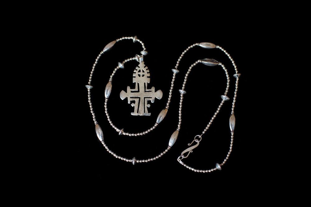 Ethiopian Coptic cross silver. Chain length-87cm. Pendant height- 6cm. Width- 4cm.