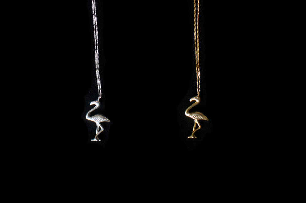 Flamingo with chain. Silver & silver gold plate. Chain length- 46cm. Pendant height- 3cm.