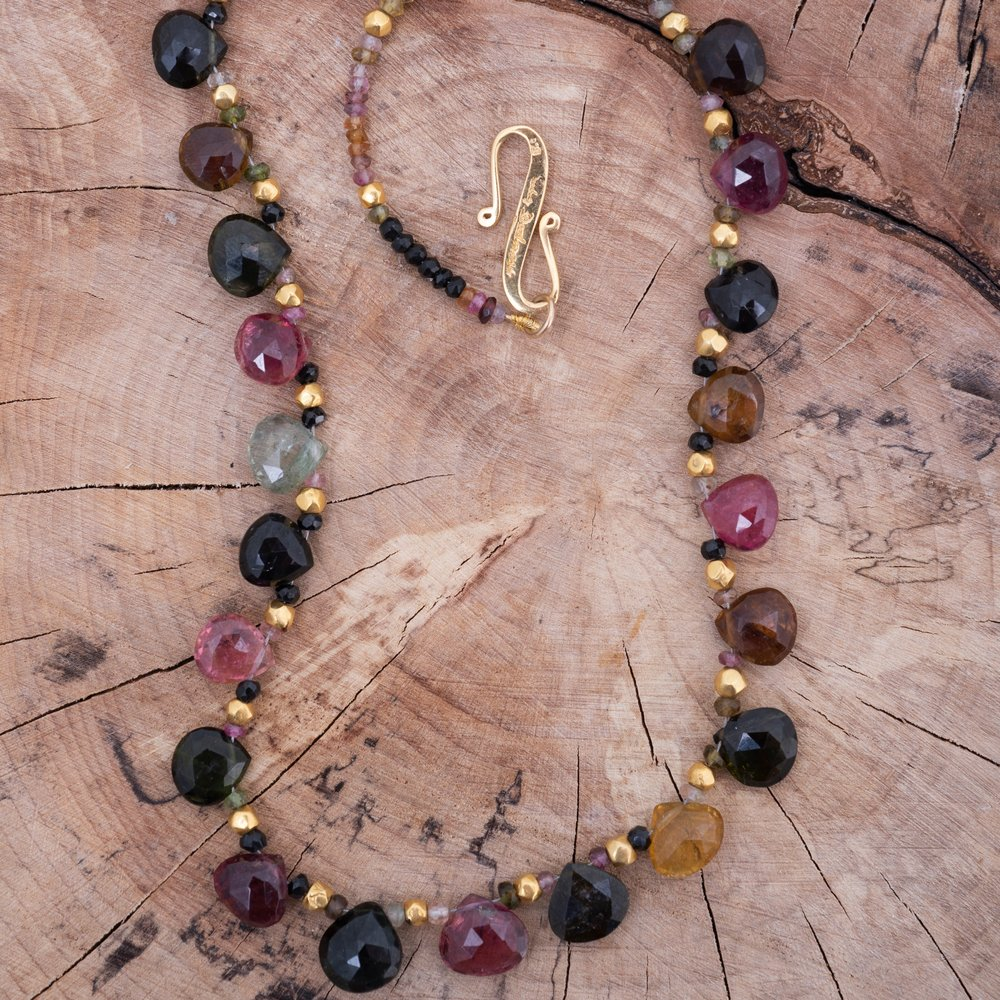 Tanzanian tourmaline Necklace. Sumptuous watermelon coloured multi-faceted drops, with 18ct wax filled gold beads.