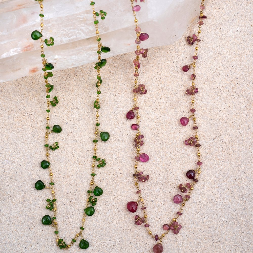 Tourmaline Gold Necklace. Fabulously individual, every one is unique. Available with either red or green tourmaline stones.