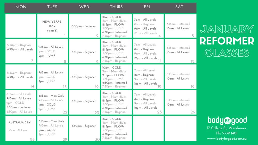 January Pilates Timetable Body BE Good