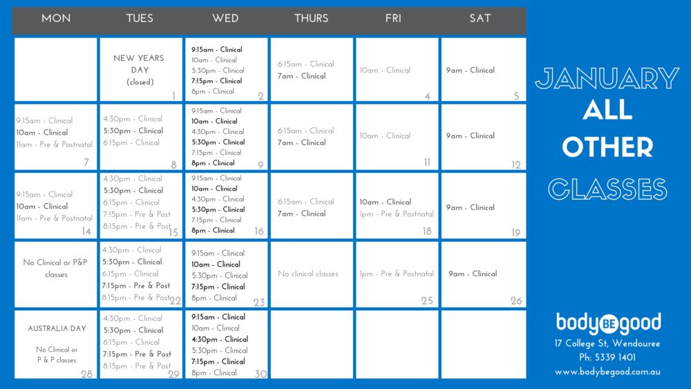 Clinical Pilates Prenatal Pilates timetable