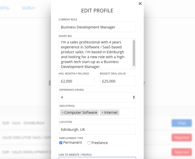 CREATE PROFILE IN SECONDS - Sign up and create your profile in seconds by providing basic info like current role, a short bio, average billings, years of experience, location